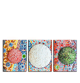 Quadro Tríptico de Lona Pedras Coloridas | 105 X 45