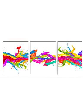 Quadro Tríptico de Lona Pedras Coloridas II | 105 X 45