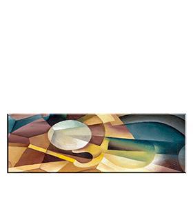 Quadro de Lona Círculo Branco | 120 X 40