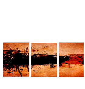 Quadro Tríptico de Lona Salpicos Pretos | 105 X 45