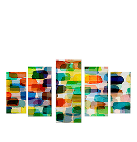 Quadro Políptico de Lona Rectângulos Multicolores | 100 X 60