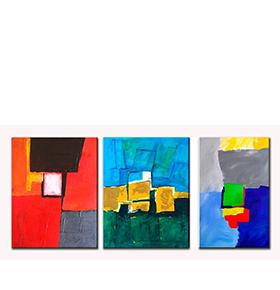 Quadro Tríptico de Lona Tons Coloridos | 105 X 45