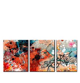 Quadro Tríptico de Lona Graffiti | 105 X 45