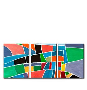 Quadro Tríptico de Lona Tons Coloridos II | 105 X 45
