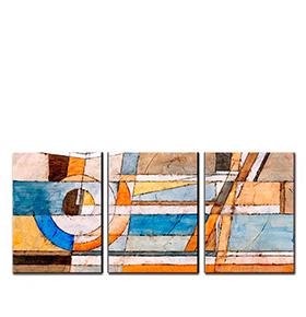 Quadro Tríptico de Lona Tons Neutros | 105 X 45