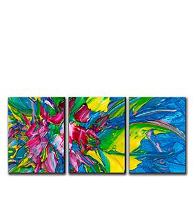 Quadro Tríptico de Lona Tons de Rosa e Azul | 105 X 45
