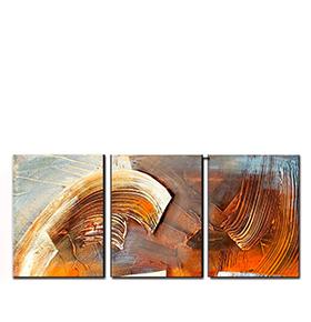 Quadro Tríptico de Lona Tons Neutros III | 105 X 45