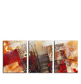 Quadro Tríptico de Lona Tons de Vermelho II | 105 X 45