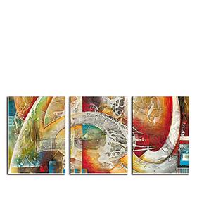 Quadro Tríptico de Lona Tons de Vermelho III | 105 X 45