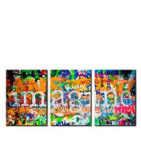 Quadro Tríptico de Lona Imagine | 105 X 45
