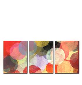 Quadro Tríptico de Lona Círculos Coloridos | 105 X 45
