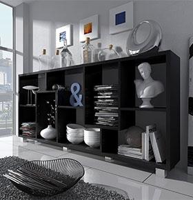 Estante Deluxe Horizontal Preta | Design Moderno e Funcional