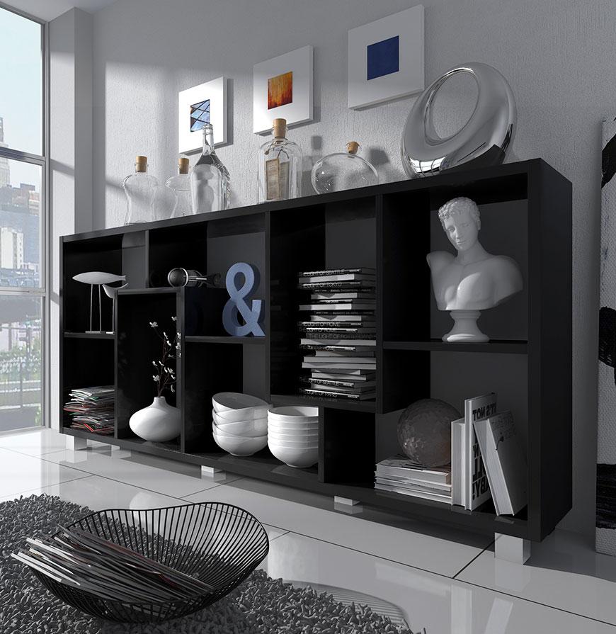 Estante Deluxe Horizontal Preta   Design Moderno e Funcional