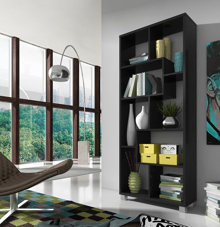 Estante Deluxe Vertical Preta   Design Moderno e Funcional