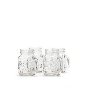 Conjunto de 4 Garrafinhas de Vidro Vintage