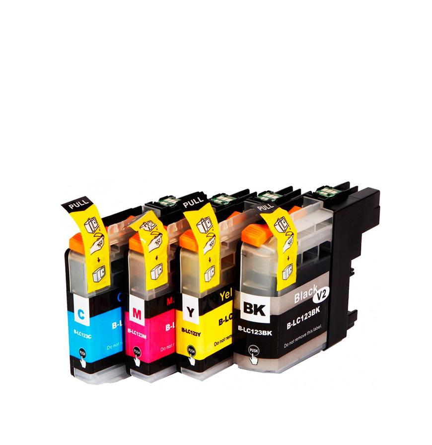 Pack 4 Tinteiros | Compatíveis com Brother LC123XL