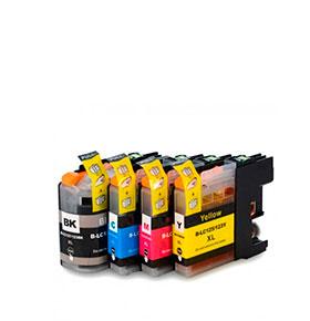 Pack 4 Tinteiros | Compatíveis com Brother 127XL Bk + LC125XL Cores