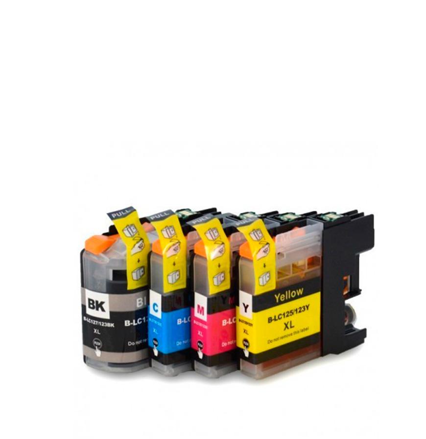 Pack 4 Tinteiros | Compatíveis com Brother LC125XL Cores + 127XL Bk