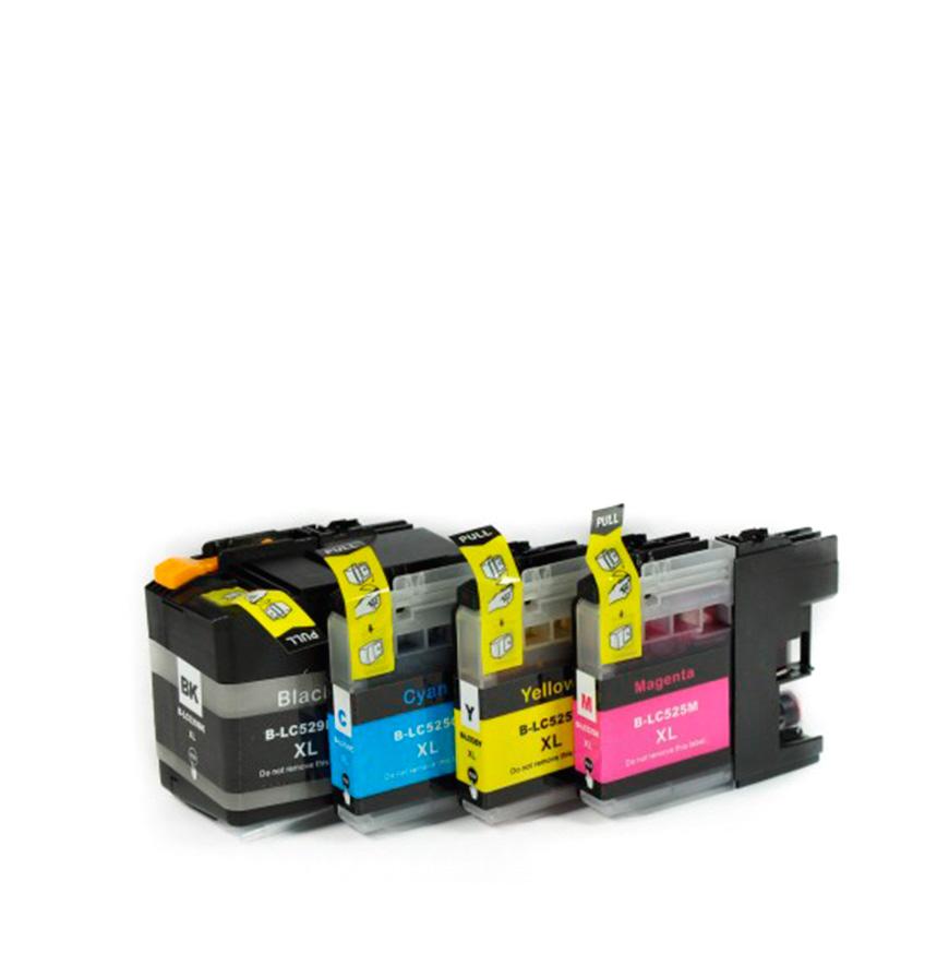 Pack 4 Tinteiros   Compatíveis com Brother  LC529XL BK + 525XL Cores