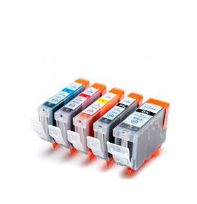 Pack de 5 Tinteiros | Compatíveis com Canon PGI5 + CLI8