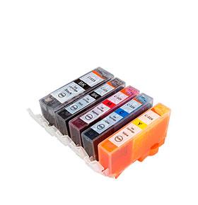 Pack de 5 Tinteiros | Compatíveis com Canon PGI525+CLI526
