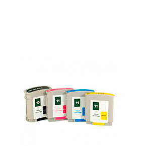 Pack 4 Tinteiros | Compatíveis com HP Nº10+Nº11