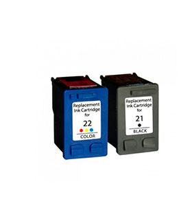 Pack de 2 Tinteiros | Compatíveis com HP Nº21XL+Nº22XL
