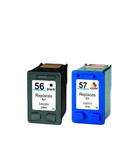 Pack de 2 Tinteiros | Compatíveis com HP Nº56A+Nº57