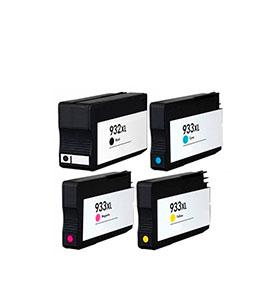 Pack 4 Tinteiros | Compatíveis com HP Nº932XL + Nº933XL