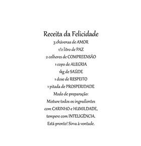 Vinil Receita da Felicidade | 56 x 100cm