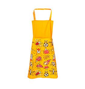 Avental de Cozinha Amarelo Insectos com Bolso Duplo
