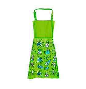Avental de Cozinha Verde Insectos com Bolso Duplo