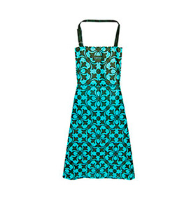 Avental de Cozinha Verde e Azul Mosaico com Bolso Duplo