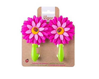 2 Ganchos Vigar® Flower Power   Escolha a Cor