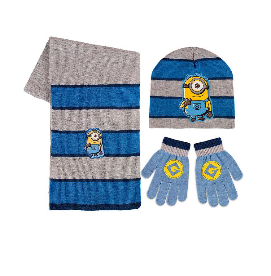 Conjunto 3 Peças Minions   Cinza e Azul