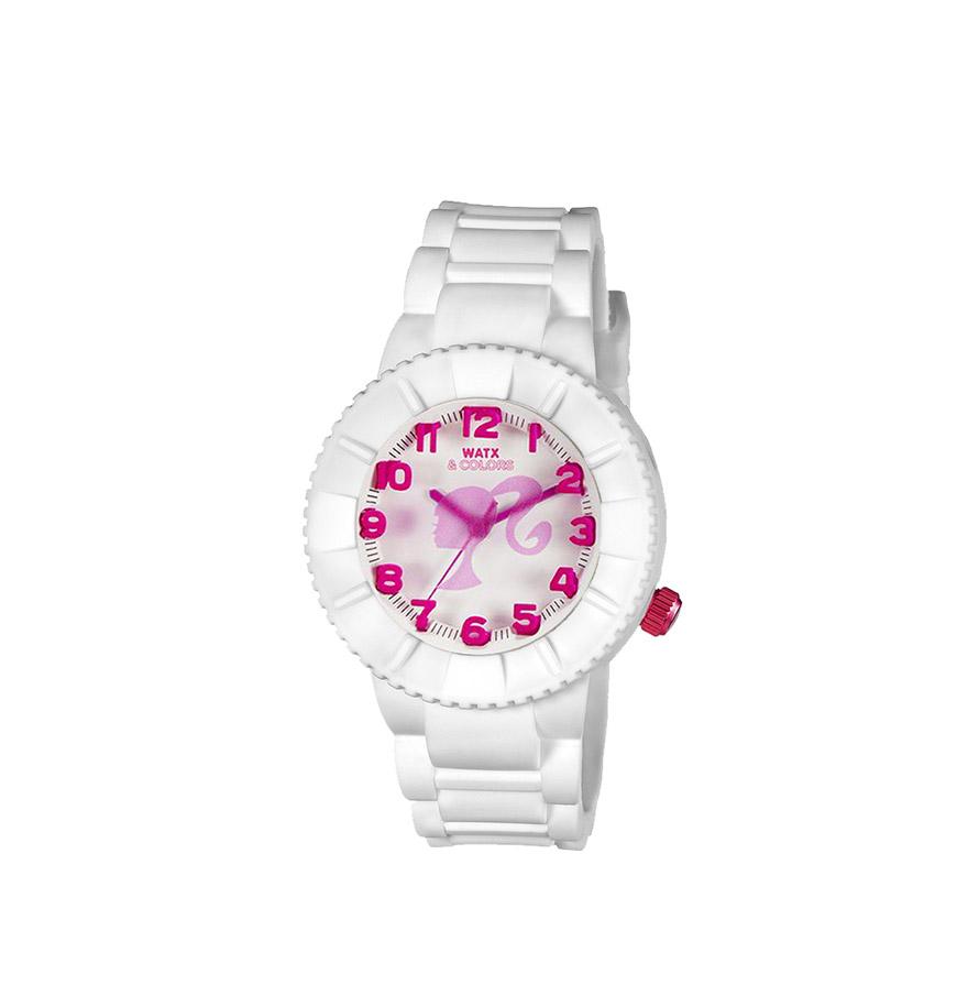 Relógio Watx & Colors® Barbie Kids Analógico   Branco e Rosa