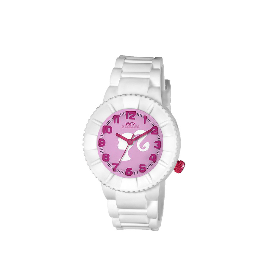 Relógio Watx & Colors® Barbie Kids Analógico   Rosa e Branco