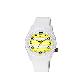 Relógio Watx & Colors® M Stripes   Amarelo e Branco