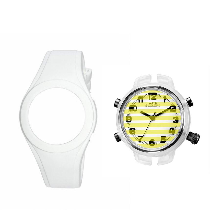 Relógio Watx & Colors® M Stripes | Amarelo e Branco