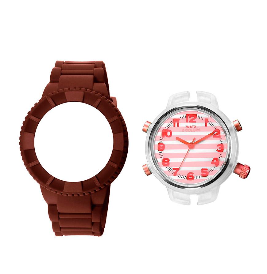Relógio Watx & Colors® M Stripes | Salmão e Castanho
