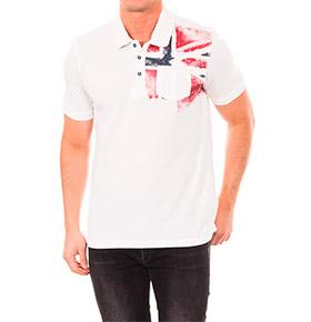 Polo Napapijri® | Branco com Bandeira