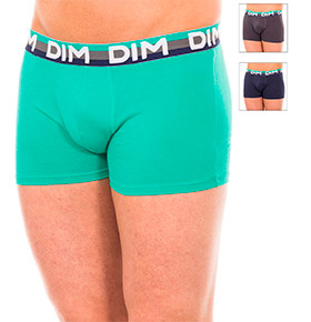 Pack 3 Boxers Dim® | Verde, Azul Marinho e Cinzento