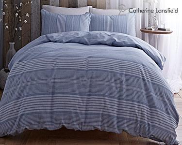 Jogo de Cama Catherine Lansfield® Stripes Azul   Capa Edredão + 1 ou 2 Fronhas