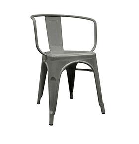 Cadeira Industrial Torix com Braços | Cinza Galvanizado