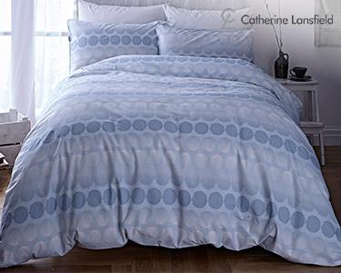Jogo de Cama Catherine Lansfield® Spot Azul | Capa Edredão + 1 ou 2 Fronhas