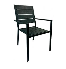 Cadeira de Terraço com Braços | Preto