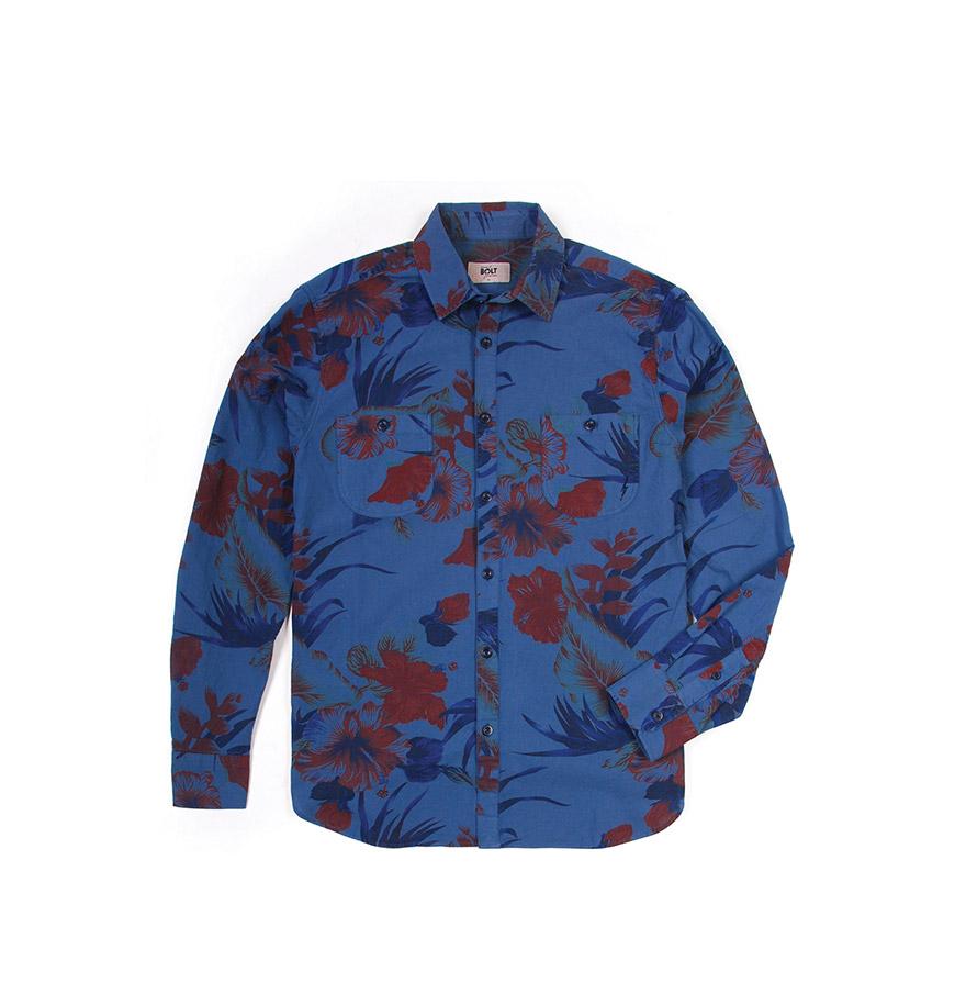 Camisa Lightning Bolt®   Azul com Padrão