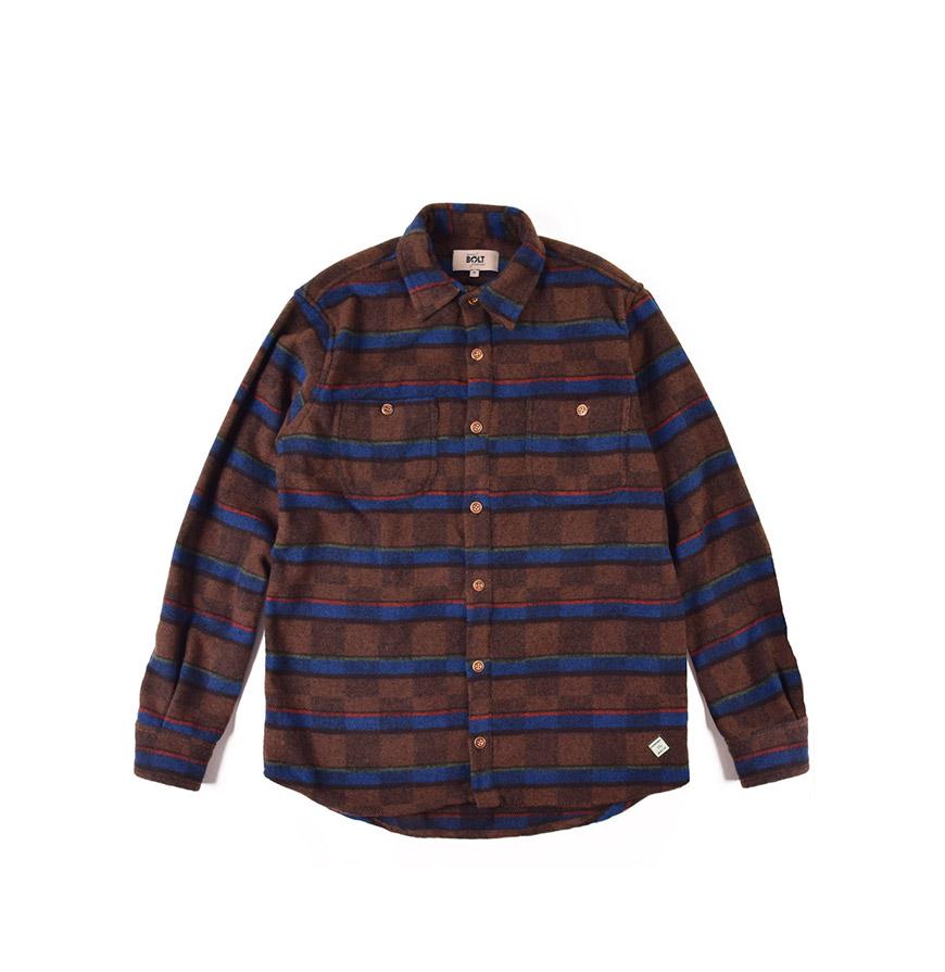 Camisa Lightning Bolt® | Castanho e Azul com Padrão