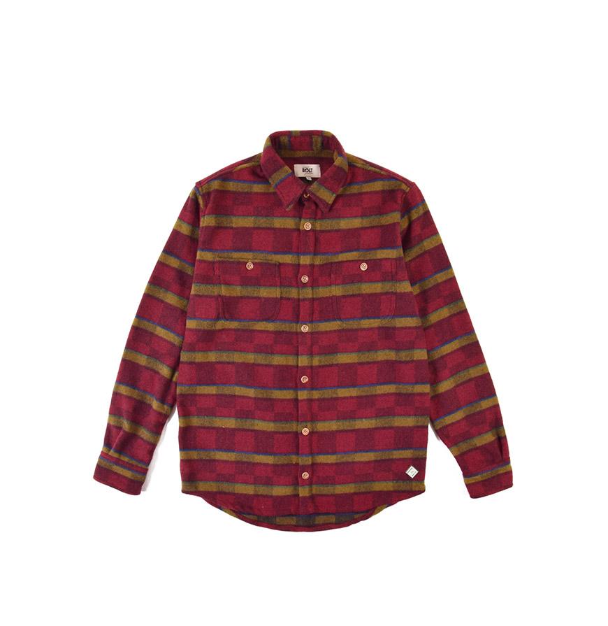 Camisa Lightning Bolt®   Vermelho e Bege com Padrão