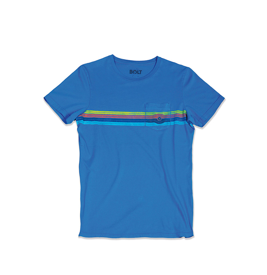 T-shirt Lightning Bolt® Eyed Stripe   Azul com Riscas